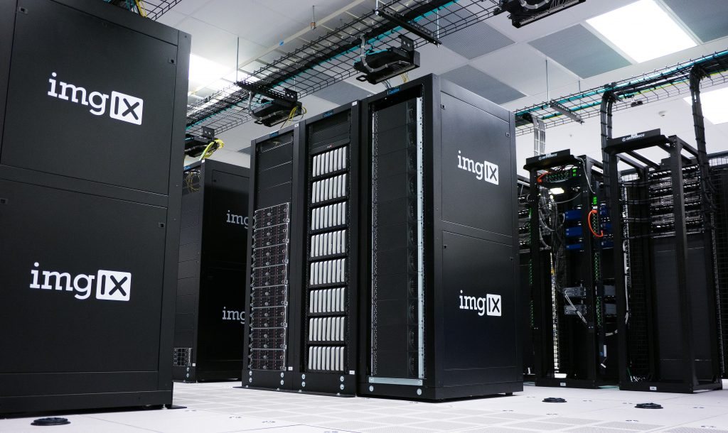 Picture of IMGIX servers in a server room