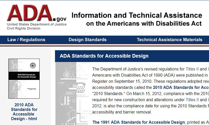 Image of a screen shot of the ADA.gov website